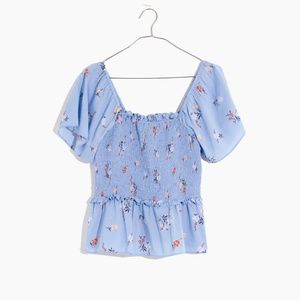 Madewell Smocked Flutter-Sleeve Top in Aloha Flora